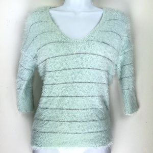 Willow & Clay Crop 1/2 Sleeve Furry Sweater Top